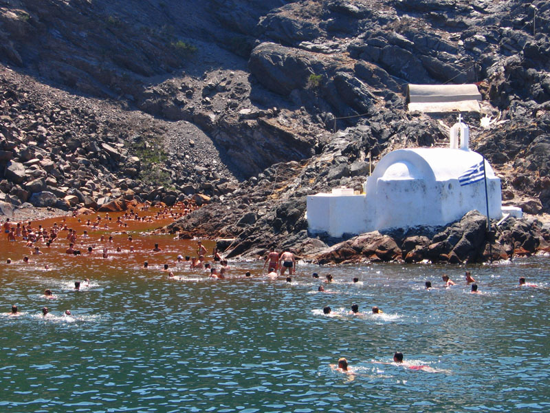 santorini hot springs sailing greece